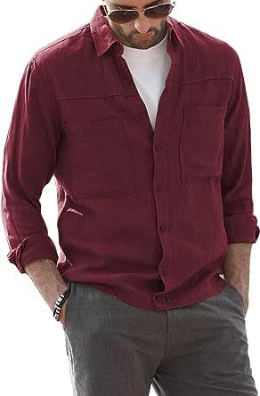 AUDATE Camisa para hombre de corte regular con botones, para otoño e invierno, de manga larga