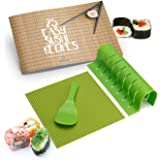 Sushi Making Kit - Silicone Sushi Roller With Rice Paddle, Roll Cutter, and Recipe Book, Full DIY Sushi Kit For The Perfect S