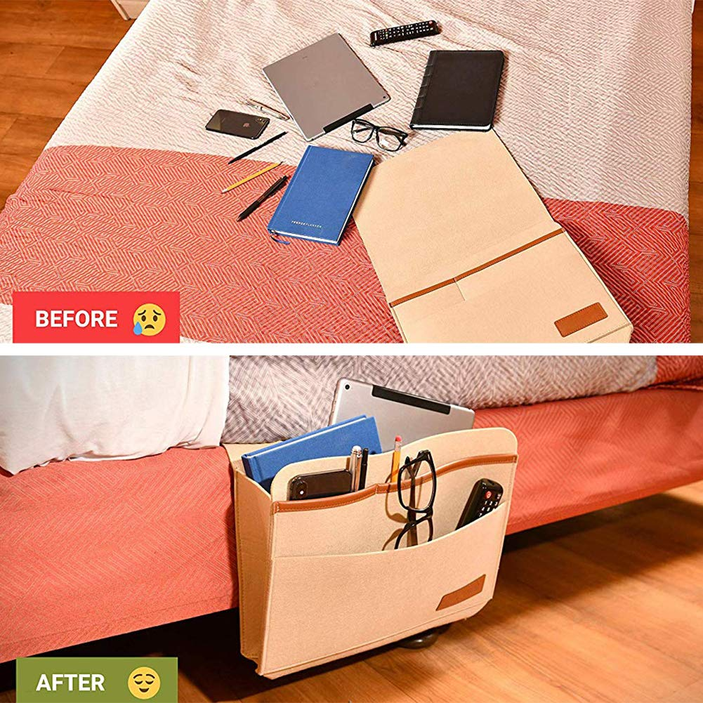 Multi-Attachment Hanging Storage for Bed Rails Dorms Skyoo Felt Bedside Caddy Bunk Beds