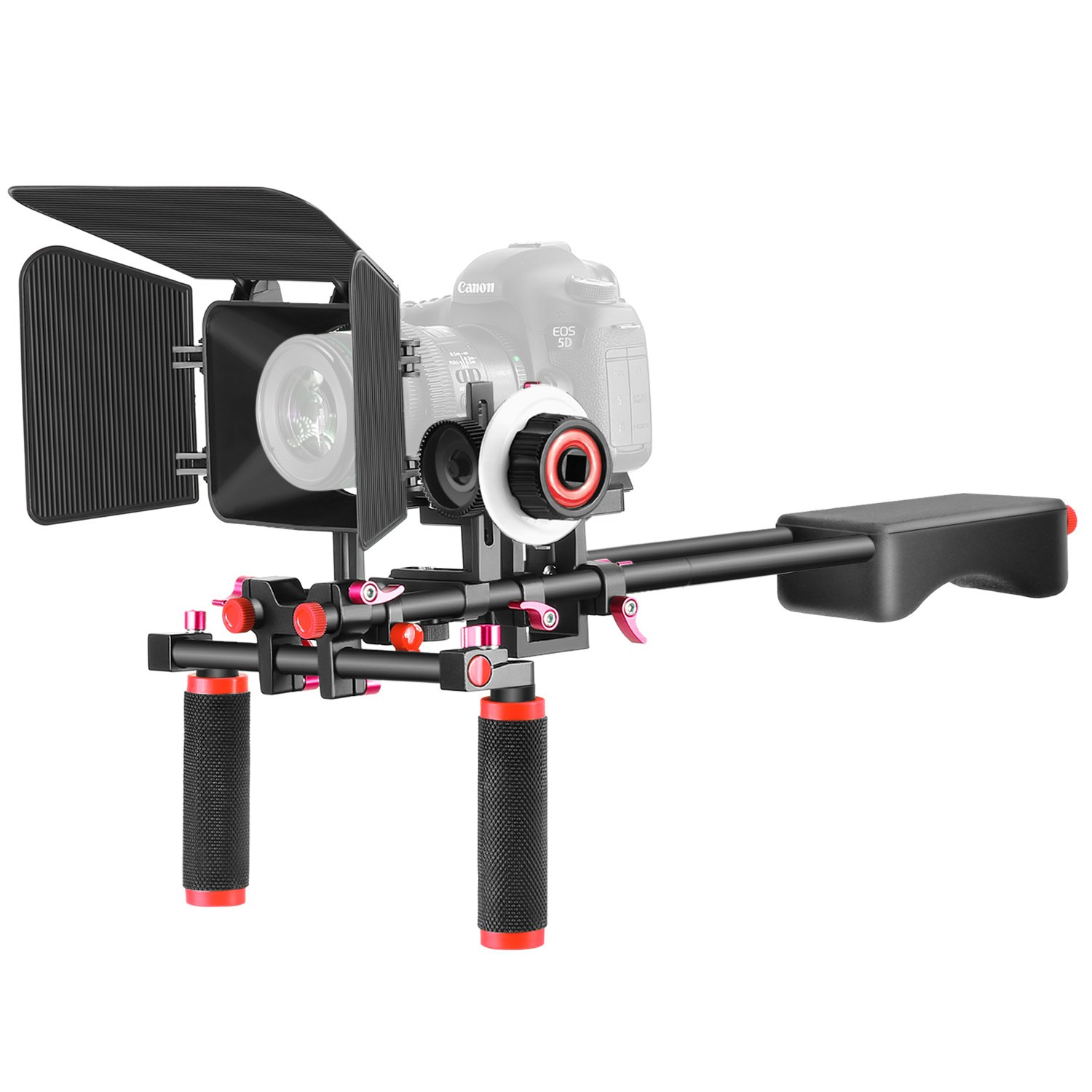 Neewer Aluminum Alloy Film Movie Video Making System Kit for Canon Nikon Sony and Other DSLR Cameras Video Camcorders, Includes: (1) Shoulder Rig, (1) Follow Focus and (1) Matte Box (Black+Red) by Neewer