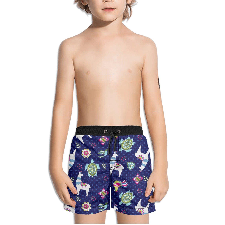 FullBo Llama Turtles Animals Little Boys Short Swim Trunks Quick Dry Beach Shorts