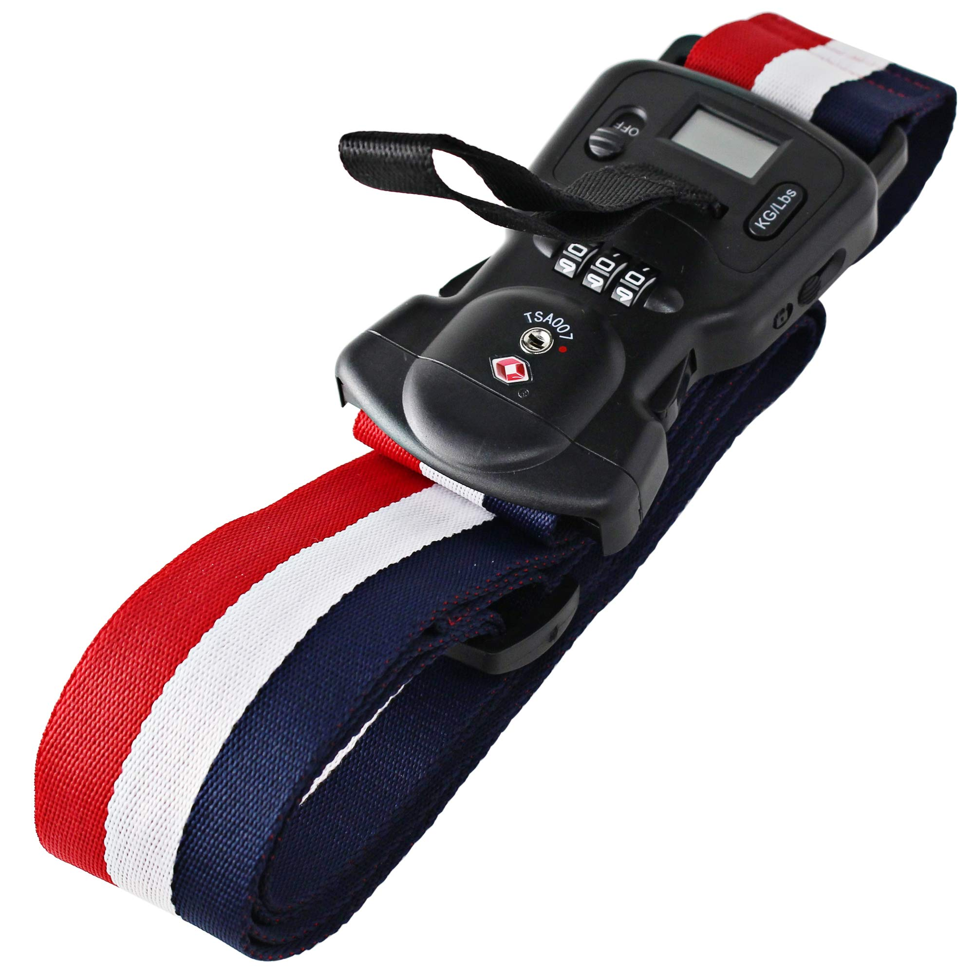 NicoDee Premium 3-in-1 Travel Luggage Bag Strap with Built-in TSA Lock and Digital Scale Set Your own Code and Keep Contents Secure, Safe from Theft, Plus Know its Weight! (red-white-blue) by NicoDee