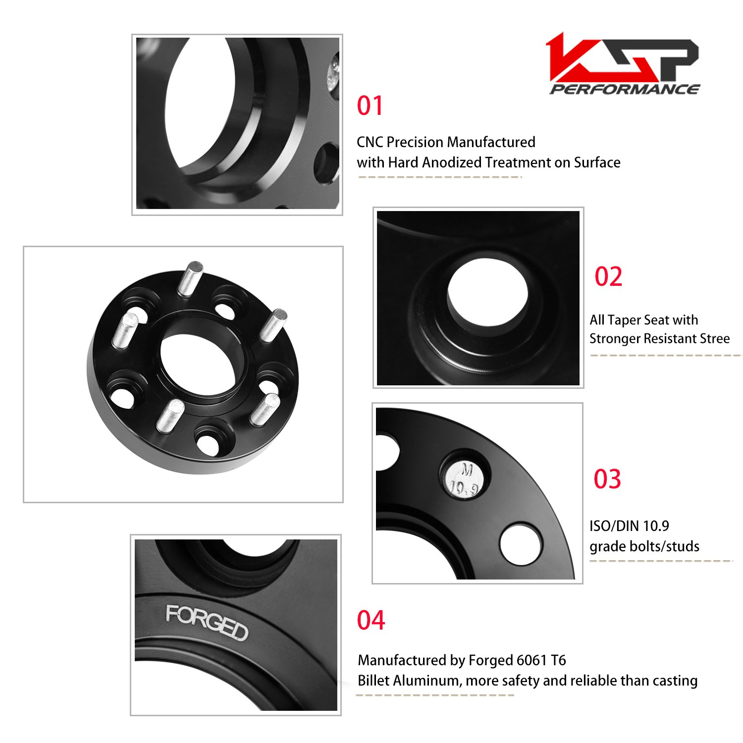 Wheel Spacers Jeep Kia Mazda,KSP 5X4.5 to 5X4.5 Thread Pitch M12x1.5 Hub Bore 67.1mm Thickness 20mm Wheel Spacer Fusion Hyundai Genesis Compass Patriot,2 Years Warranty by KSP Performance (Image #4)