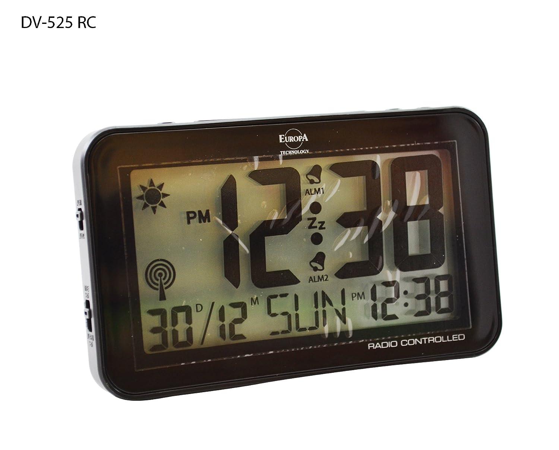 Sveglia Digitale Radiocontrollata Doppio orario di sveglia LCD Nero Fpa