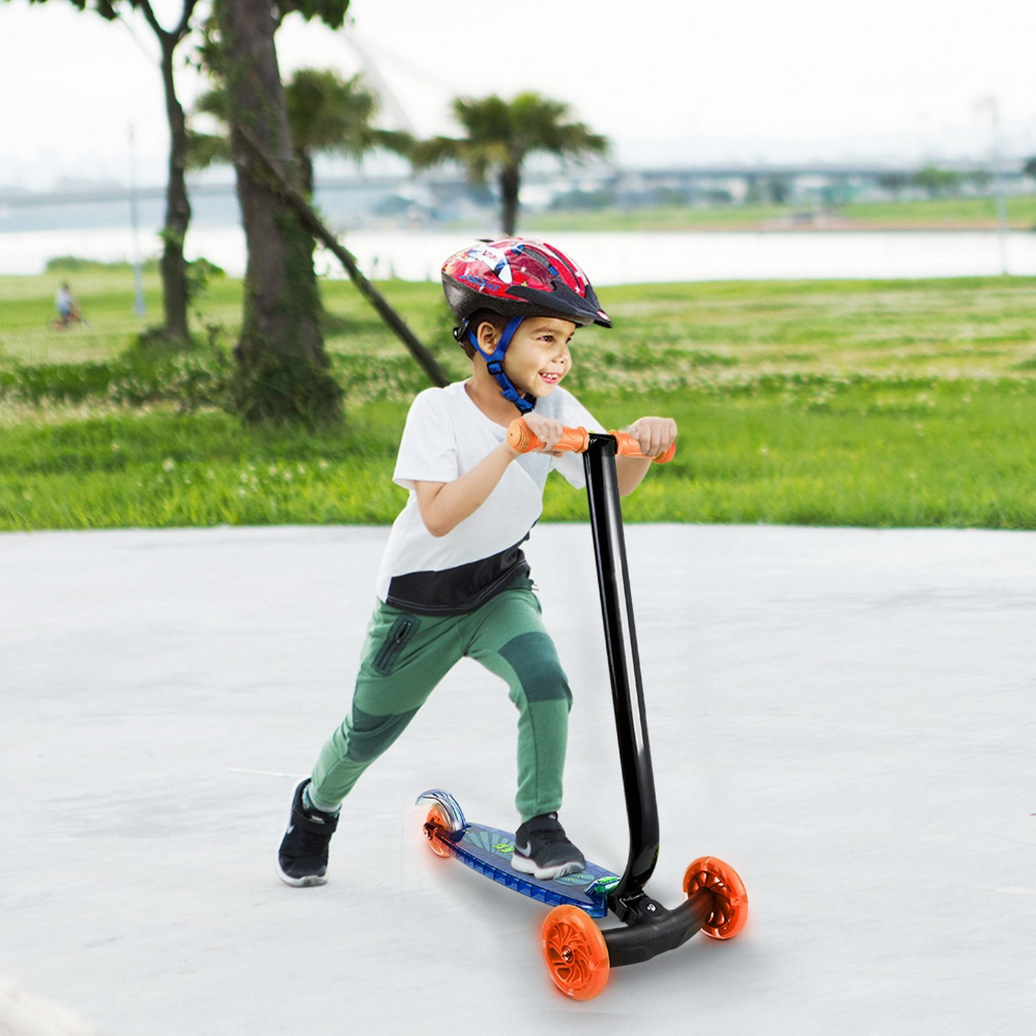 Amazon.com : Child Kids 3-Wheel Kick Scooter with LED Light Up Wheels and Music Manual T-bar Scooters (Style1 - Blue) : Sports & Outdoors