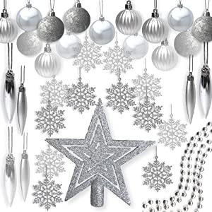 BANBERRY DESIGNS Silver Christmas Decorations - Pack of 100 Assorted Silver Finished Christmas Ornaments - Silver Decorations - Trim-A-Tree Kit