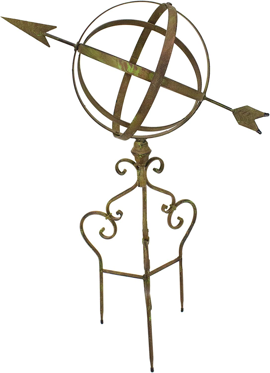 Large Metal Garden Sphere with Arrow and Stand