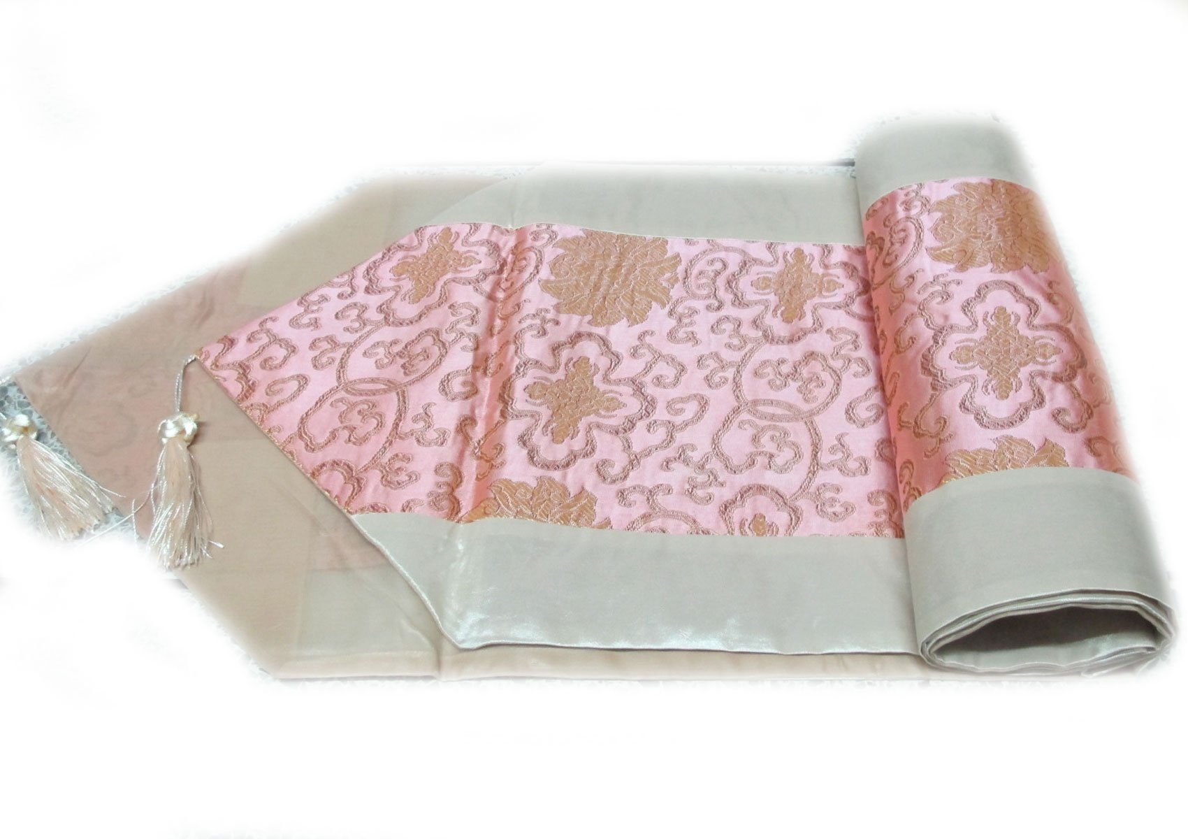 BEAUTIFUL FLOWER THAI SILK TABLE/BED RUNNER WITH COMPLIMENTARY