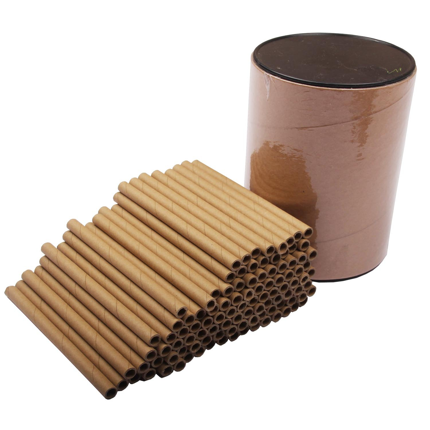 Mason Bee Nest Tubes Cardboard Refill with Bucket Big Tube– 100Tube Pack/Length 6'' - Opening diameter 5/16 Outdoor Garden Bee House and Insect Home ~ Ideal habitat for Bees and Bugs (100 Kraft Tubes)