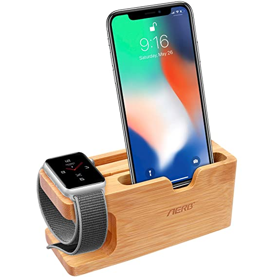Amazon apple watch stand aerb bamboo wood charging stand apple watch stand aerb bamboo wood charging stand bracket docking station cradle holder w business colourmoves