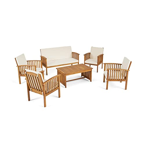 Great Deal Furniture Parry Outdoor 6-Seater Acacia Wood Chat Set, Brown Patina Finish and Cream