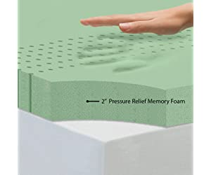 Zinus 2 Inch Green Tea Memory Foam Mattress