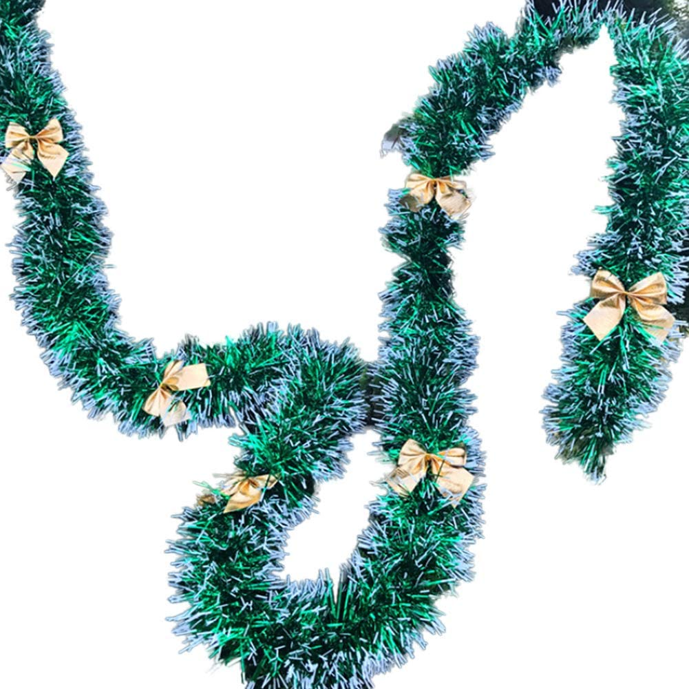 Bodhi2000 Christmas Garland with Ball Bowknot Decor Xmas Festive Wreath Stairs Fireplace Ornaments Xmas Party Decoration Type 1