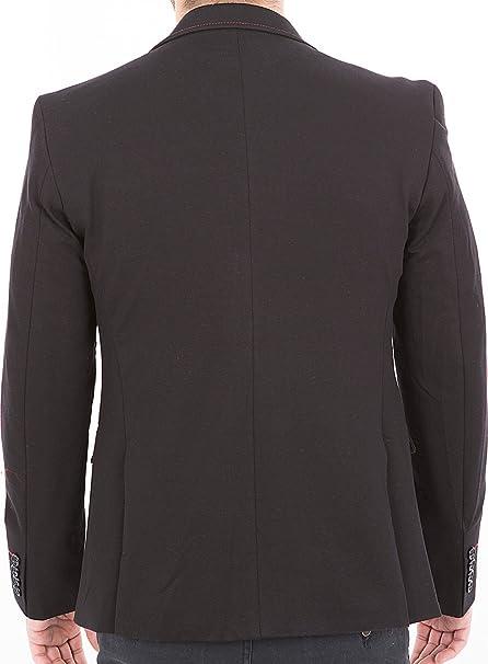 Crom - Elegante chaqueta de traje para hombre, estilo moderno y deportivo, corte slim negro 52: Amazon.es: Ropa y accesorios
