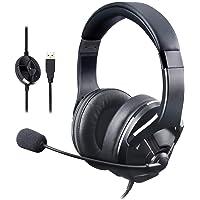 AmazonBasics – Auriculares de gaming para PC con micrófono, Negro
