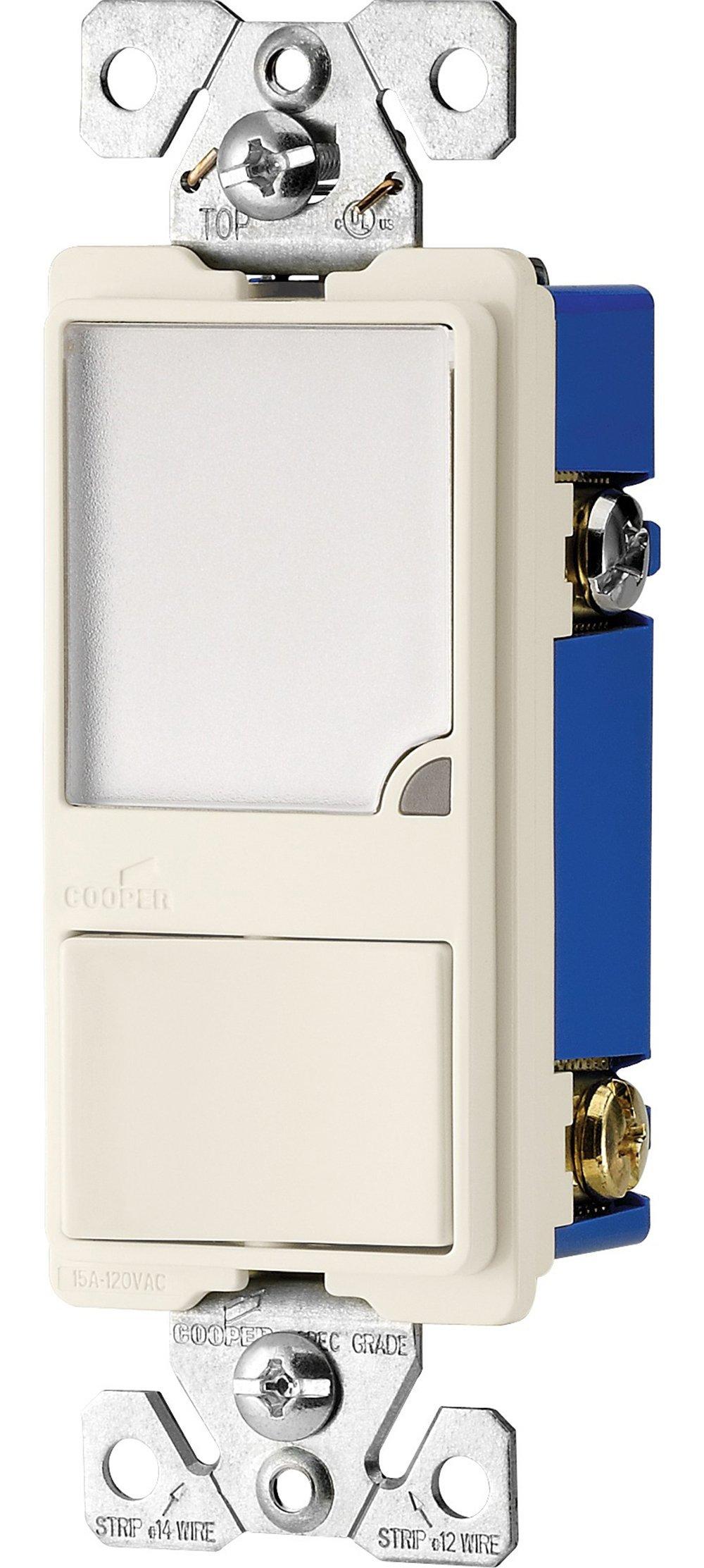 Eaton 7738LA-BOX 15 Amp Single Pole Combination Switch and Dimmable LED Nightlight, Light Almond