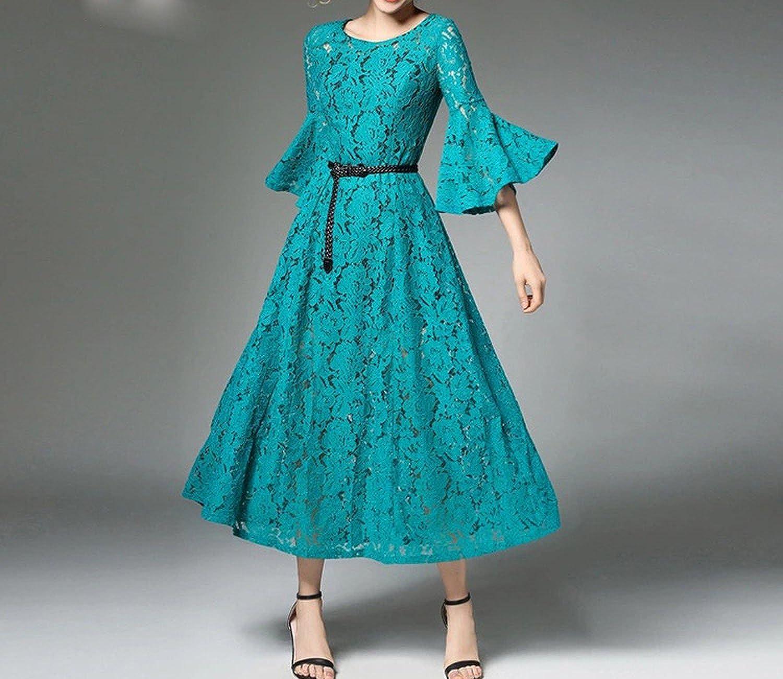 2018 Summer Trumpet Sleeve Retro Temperament Hollow Dress Lace Dress Female Entity Source