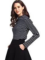 Beluring Womens Long Sleeve Stripe Casual T Shirt Blouse