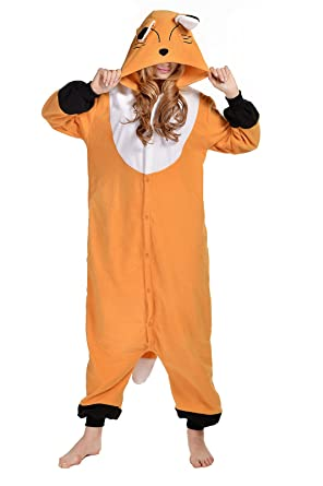 CANASOUR Cosplay Polar Fleece Brown Fox Unisex Onesie Pyjamas (S, Brown)