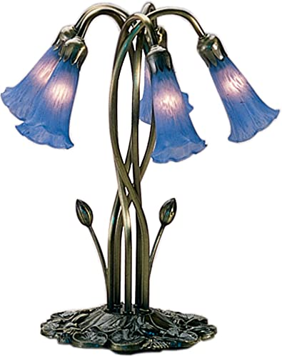 Meyda Home Office Restaurant Party Indoor Decorative 16.5 H Blue Pond Lily 5 Lt Accent Lamp