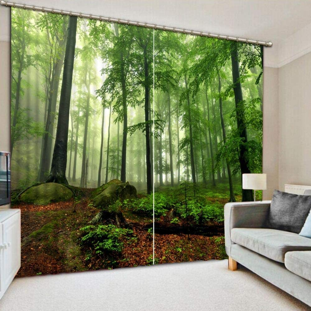 ZYZYY Bedroom 3D Blackout Curtains forest,Polyester Material ChildrenS Blackout Curtains Insulated Curtains For Bedrooms59x65inch 150x166cm