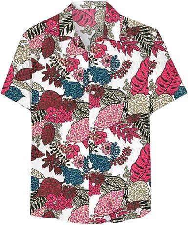 Bascar Camisa de Manga Corta para Hombre, Camisa de Lino de ...