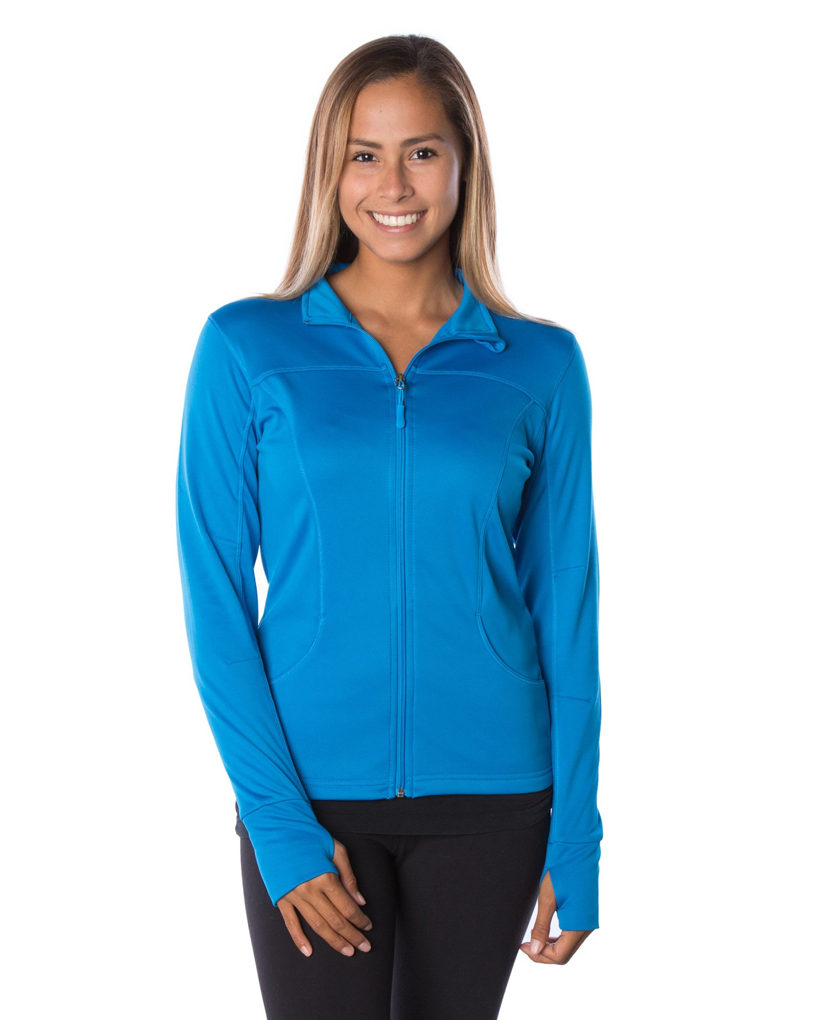 Global Women's Slim Fit Lightweight Full Zip Yoga Workout Jacket XS Aster Blue
