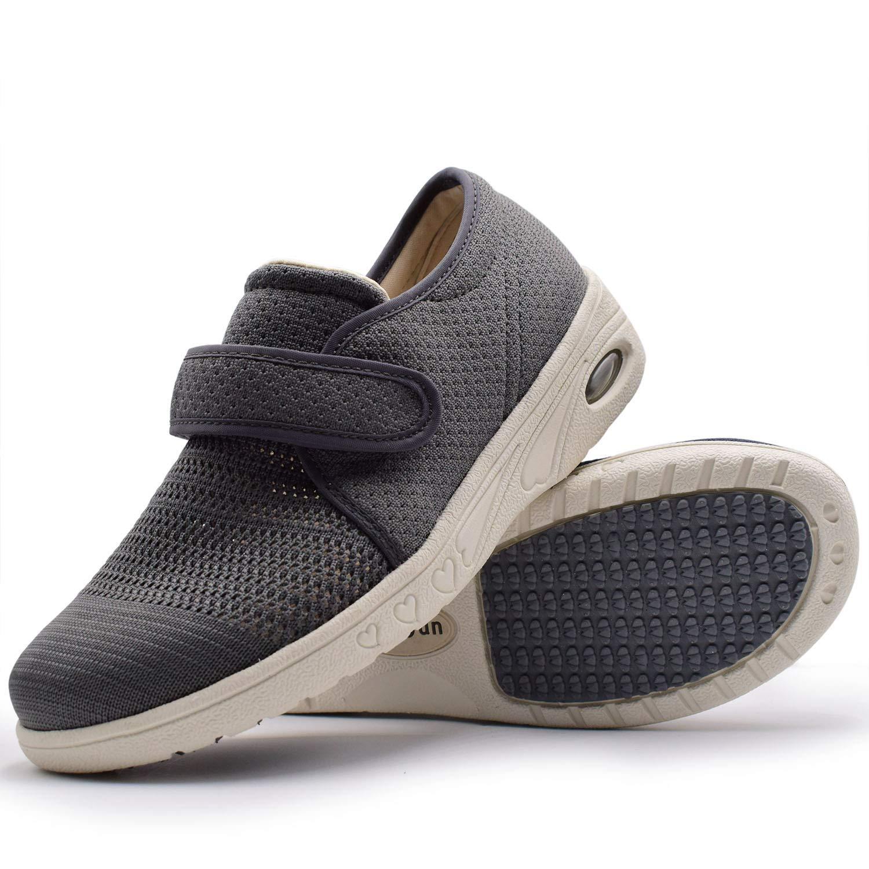 W&Le-Slippers Women's Adjustable Diabetic Slippers - Extra Wide Width Arthritis Edema Footwear (6.5, Grey)