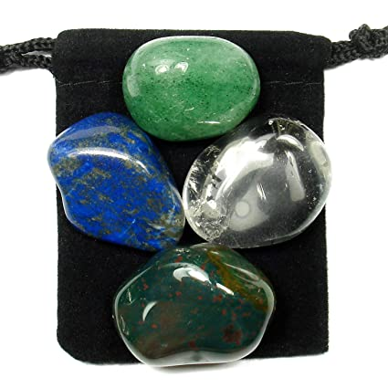 The Magic Is In You LYME Disease Fighter Tumbled Crystal Healing Set with  Pouch & Description Card - Aventurine, Bloodstone, Clear Quartz, and Lapis