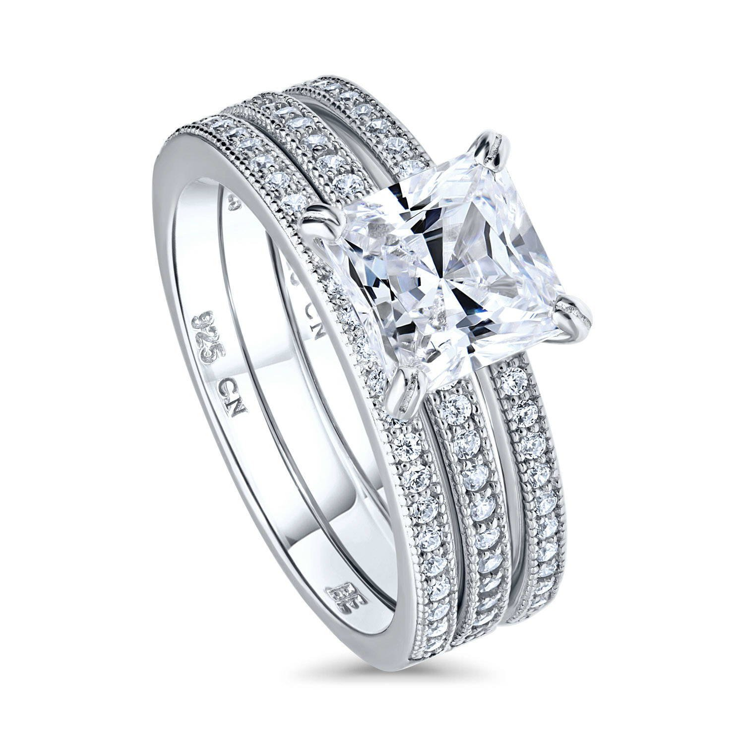 BERRICLE Rhodium Plated Sterling Silver Princess Cut Cubic Zirconia CZ Solitaire Engagement Wedding Ring Set 2.37 CTW Size 6.5