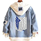 Gumstyle Anime Attack on Titan Denim Hoodie Jacket Adult Button Down Jeans Coat