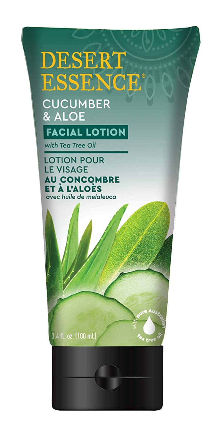Desert Essence Facial Lotion - Cucumber & Aloe w/Tea Tree Oil - 3.4 Fl Oz - Moisturizes, Protects & Softens Skin - Aloe - Cooling Cucumber - Brighten & Tone
