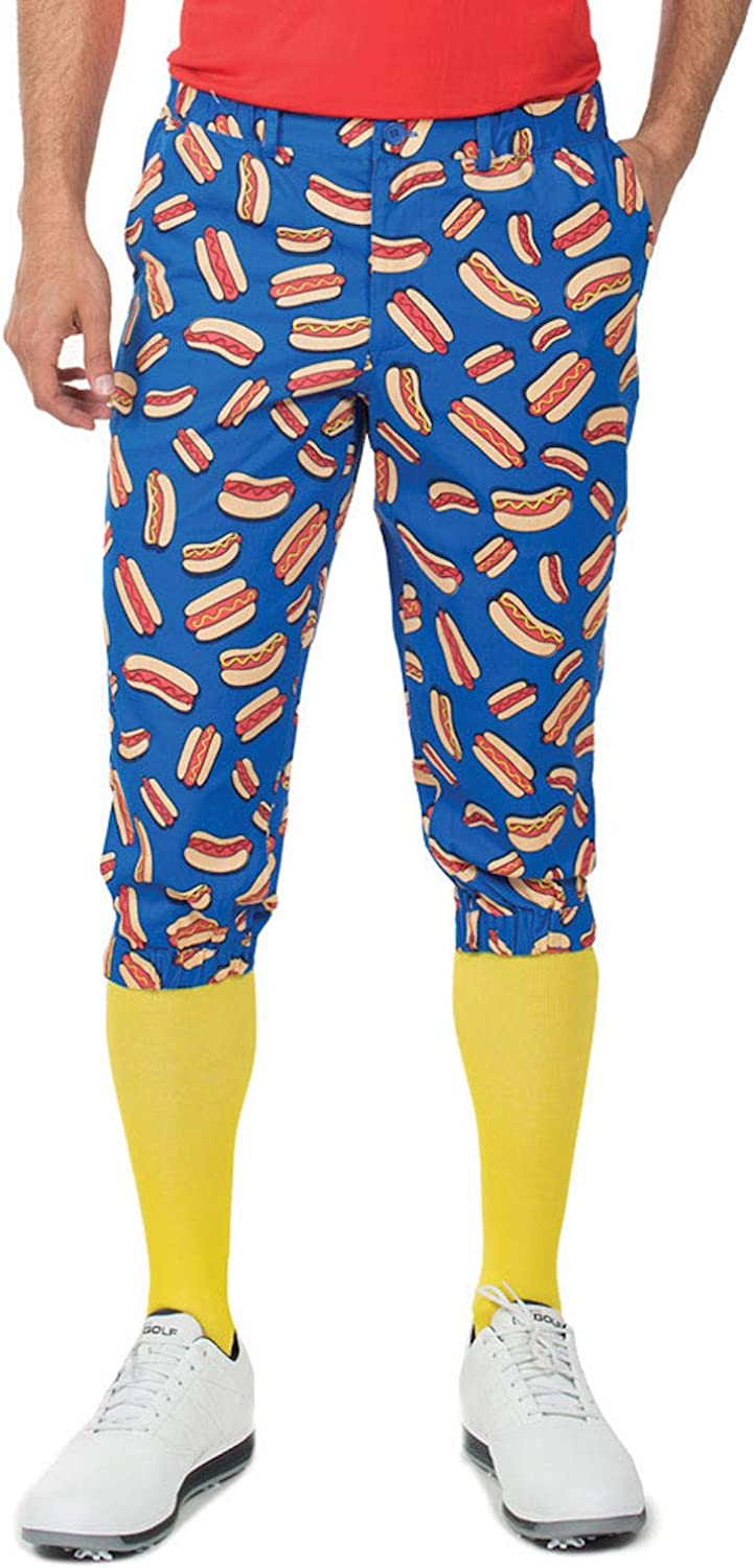 Men's Loud Golf Knickers and Socks - Traditional Retro Bright Golf Pants: Clothing