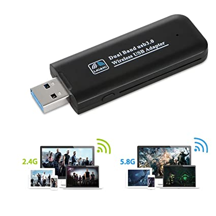 Dual Band 2.4//5Ghz 1200Mbps Wireless USB WiFi Network Adapter w//Antenna 802.11AC