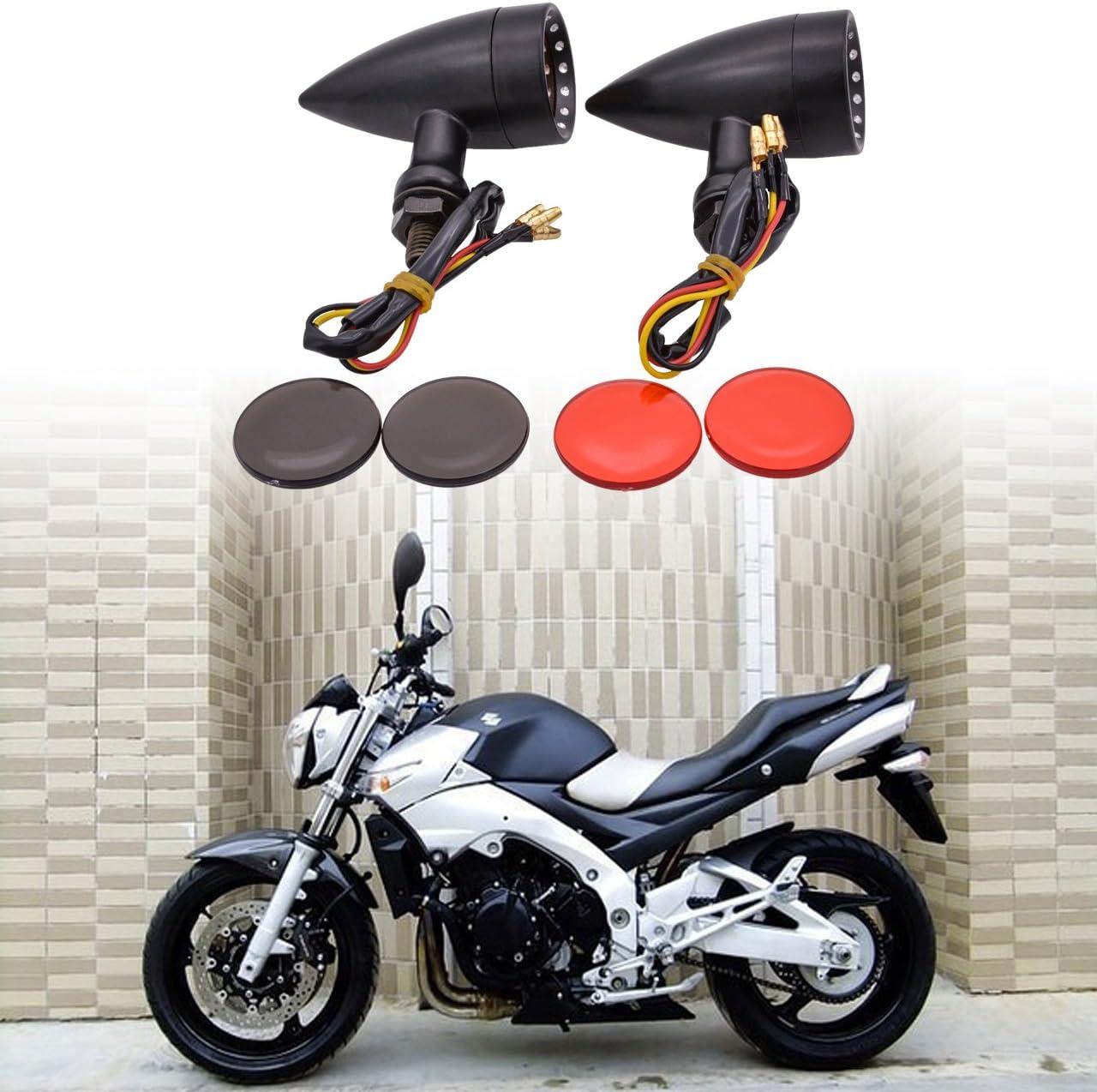 TUINCYN Motorcycle Bullet Shaped Metal Turn Signals Indicator Lights Mini Front Motor Bulb Amber//Yellow Light Universal Fits Harley Honda Yamaha Suzuki Kawasaki Cruiser Chopper Cafe Racer Pack of 2