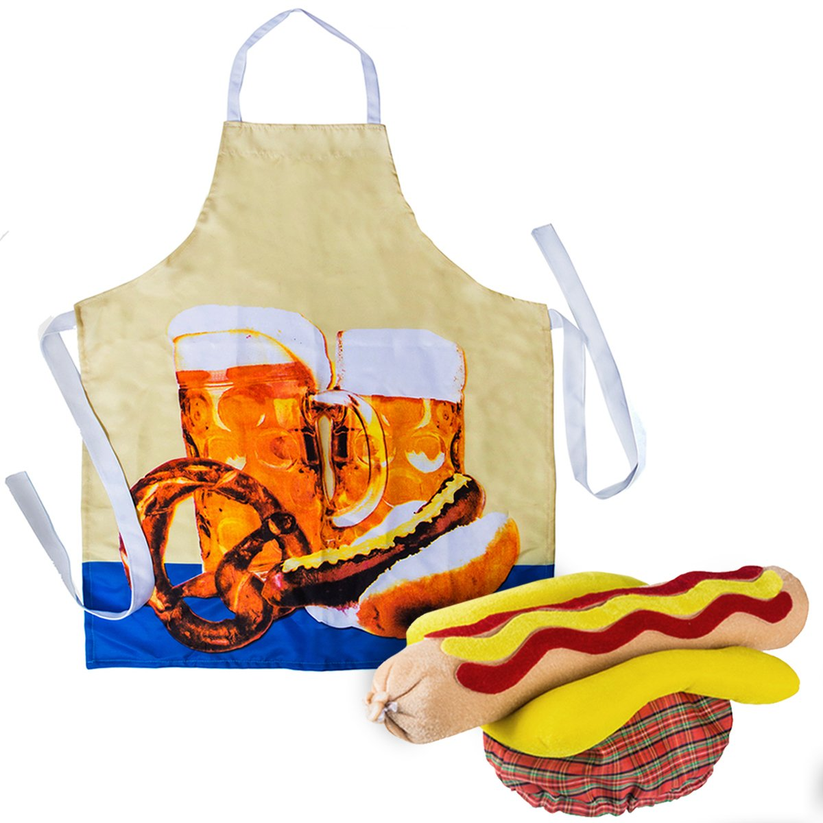 Hot Dog Costume - Chefs Apron and Hat - Hot Dog Costume - Food Costume - Food Hats by Tigerdoe by Tigerdoe