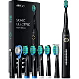 ATMOKO Electric Toothbrush with 8 Duponts Brush Heads, 5 Modes, 4 Hour Fast Charge for 30 Days Use, 40,000 VPM Motor, Power W