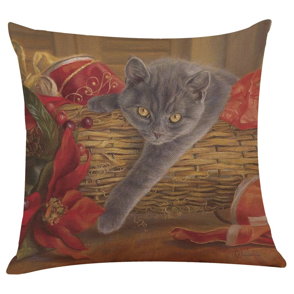 Pgojuni Lovely Cat Flax Pillowcase Decorative Throw Pillow Cover Cushion Cover Pillow Case Sofa/Couch 1pc (43cmX43cm) (E)
