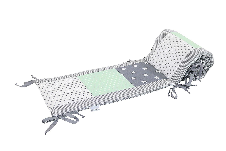 420 x 30 cm cot bumper for babies, cot bumper pads for the head area of 140/x 70/cm cots; blue green elephants ULLENBOOM//® bumper/