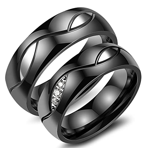 Amazon Com Lohome Fashion Rings Titanium Steel Gold Black Diamond