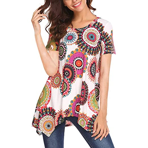b8949cdda23b5 Handyulong Clearance Womens Casual Short Sleeve Boho Print V-Neck Irregular Shirts  Loose Tunic Blouse Tops for Teen Girls at Amazon Women s Clothing store