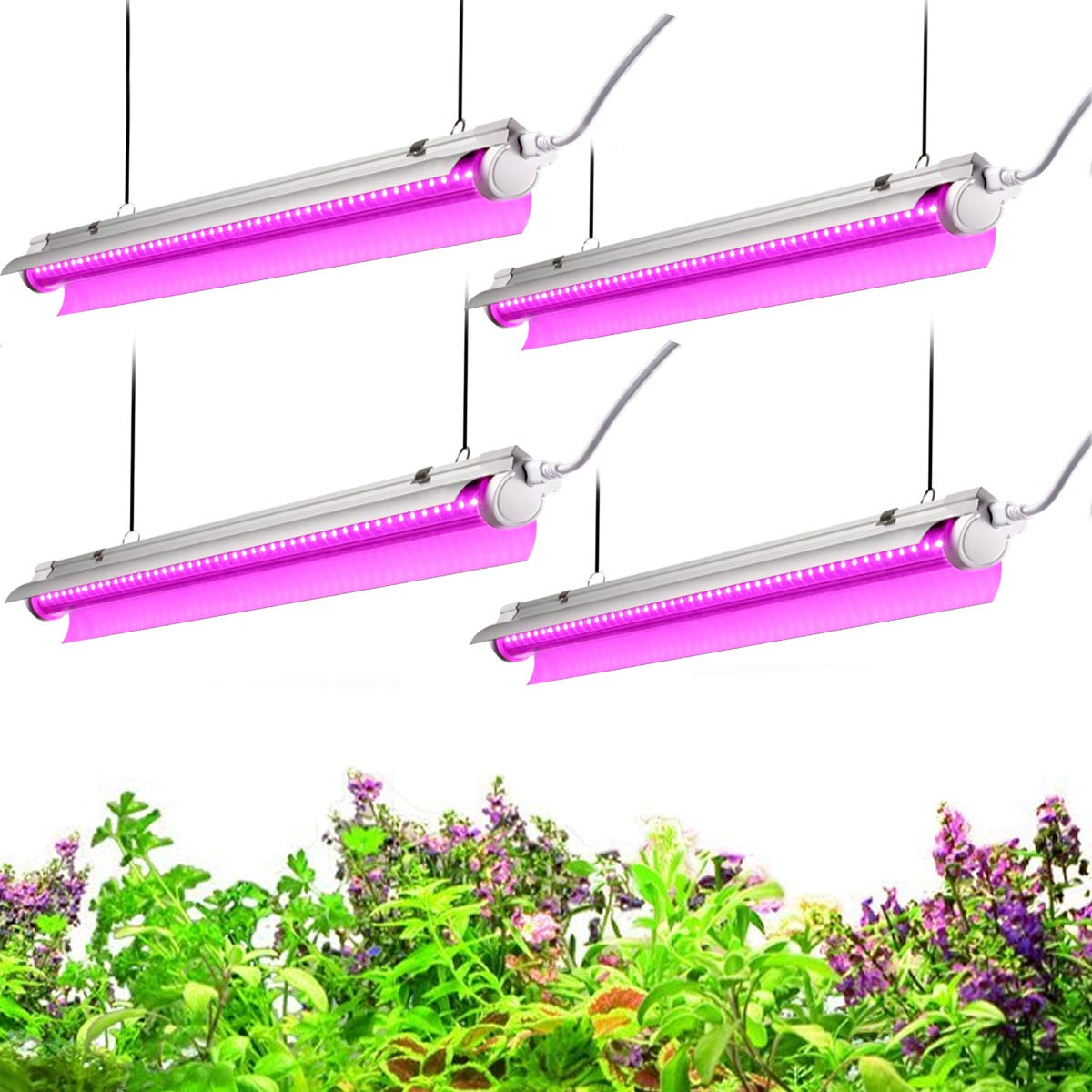 Byingo 2ft LED Grow Light, 96W (4 x 24W) 2-Row V-Shape T8 Integrated Fixture Plug and Play - with Reflector Combo Great for Indoor Plants, Pack of 4 by Byingo