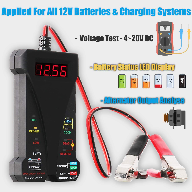 MOTOPOWER MP0514A-UK Comprobador Digital de bater/ía con volt/ímetro y Sistema de Carga alternador con Pantalla LCD e indicador LED 12 V