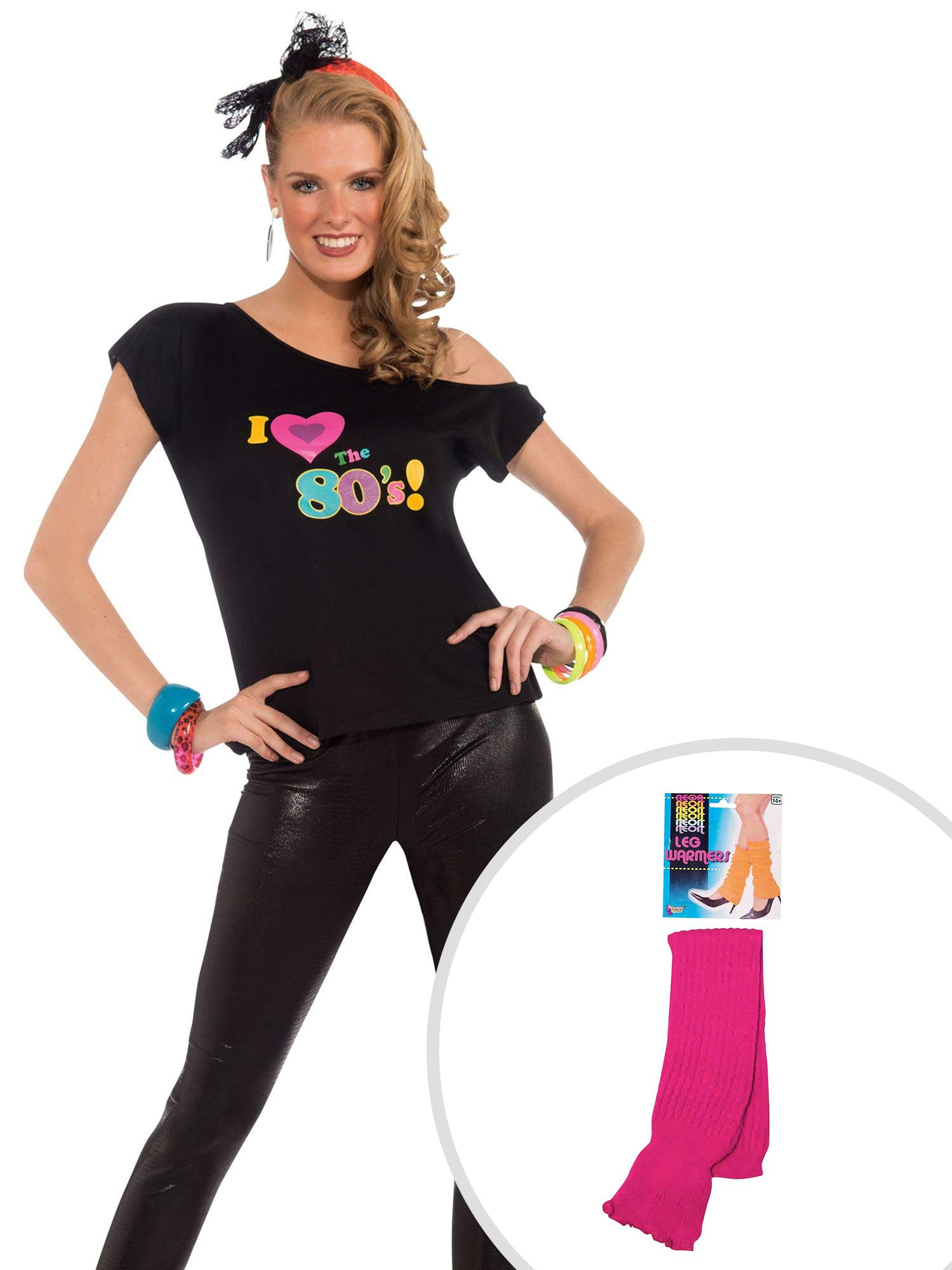 Womens I Love The 80s Shirt Adult Costume Kit M/L with Neon Pink Leg Warmers