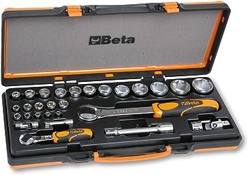 Beta 902A/C22 - Juego de 22 llaves de vaso hexagonales y 6 accesorios en caja de chapa: Amazon.es: Bricolaje y herramientas