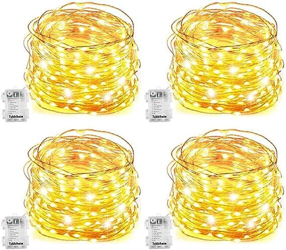 4 pack Guirnalda Luces Pilas 5M 50 Luces de Cadena Guirnalda de luces LED Luces LED Pilas Micro con Pilas de Alambre de Cobre 3 modos IP68 Impermeable blanco cálido: Amazon.es: Iluminación