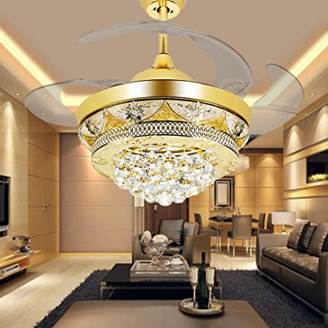 COLORLED Modern Crystal Gold Ceiling Fan Light Kit for Living Room ...