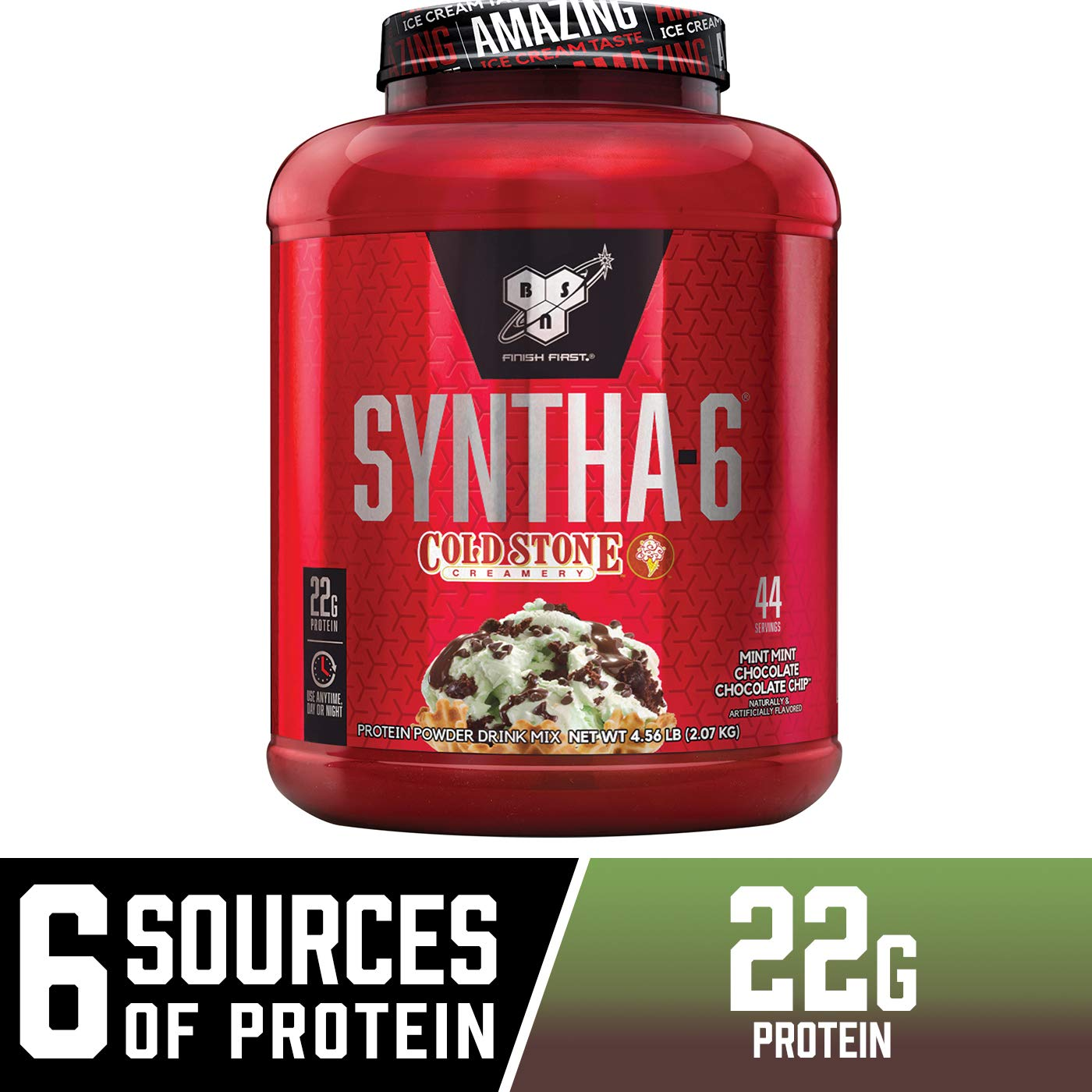 BSN Syntha-6 Whey Protein Powder, Cold Stone Creamery- Mint Mint Chocolate Chocolate Cake Flavor, Micellar Casein, Milk Protein Isolate Powder, 44 Servings