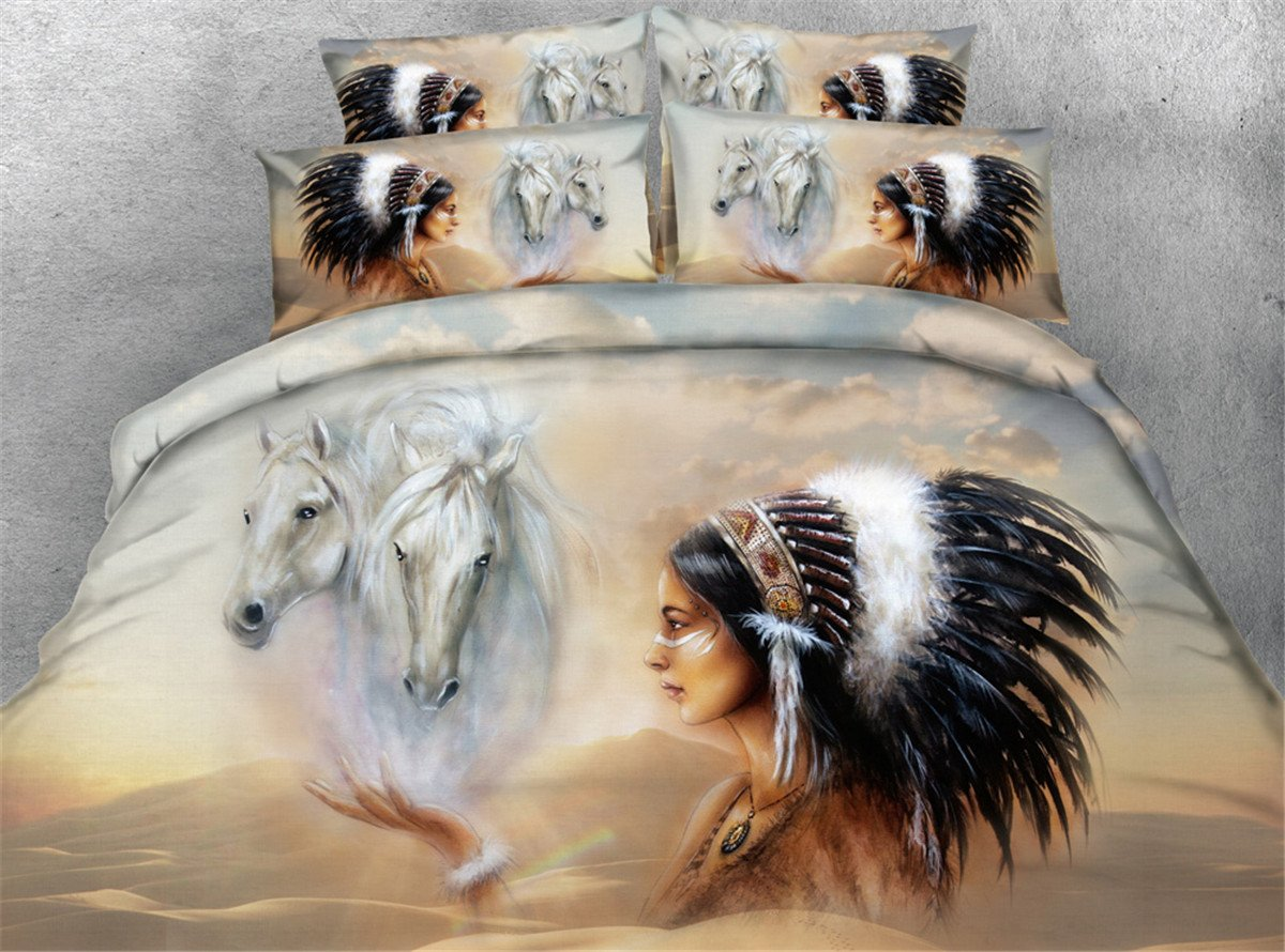 Jameswish Gorgeous 3D Bedding Sets India Horse Female Printed Bedclothes Microsoft Polyester 4-Piece Bedding Including 1Duvet Cover 1Flat Sheet 2Pillowcases King Queen Full Twin Size