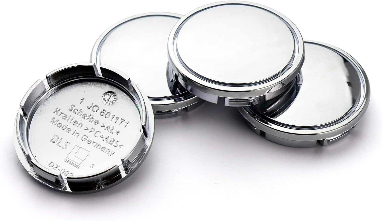 4pcs 56mm 2.2in 2.09in //53mm Wheel Hub Center Caps Chrome Silver Base for #1J0 601 171 Camry 2003 Gen5 2015-2018 18 Wheel Rims